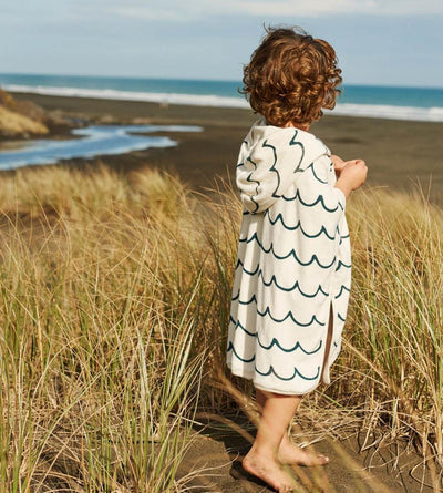 Wave Natural Marine / 1-2 Years Nature Baby Organic Hooded Poncho Towel - Naked Baby Eco Boutique