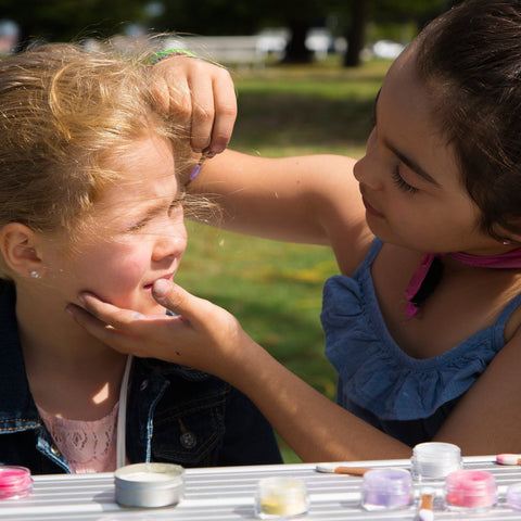 Two little girls playing with No Nasties Play Makeup