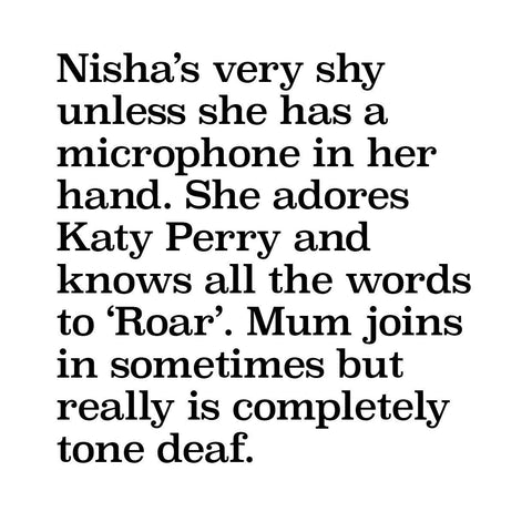 Description of No Nasties Nisha Character