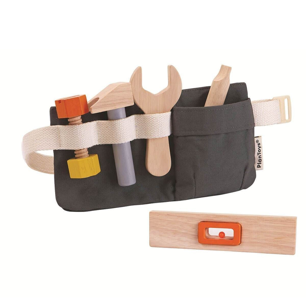 Plan Toys Kids Tool Belt with fabric belt and real working wooden tools