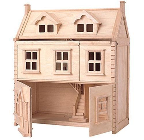 Plan Toys Victorian Wooden Dollhouse shown with front panels open for easy play access