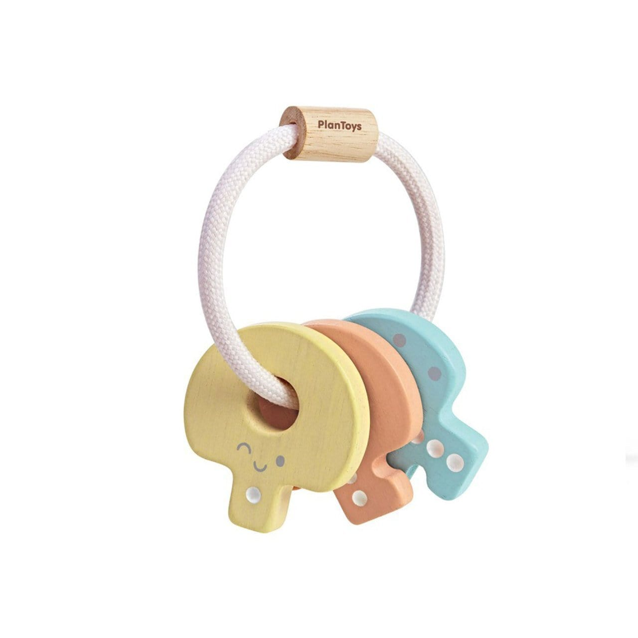 Pastel Plan Toys Wooden Baby Key Rattle (Multiple Variants) - Naked Baby Eco Boutique