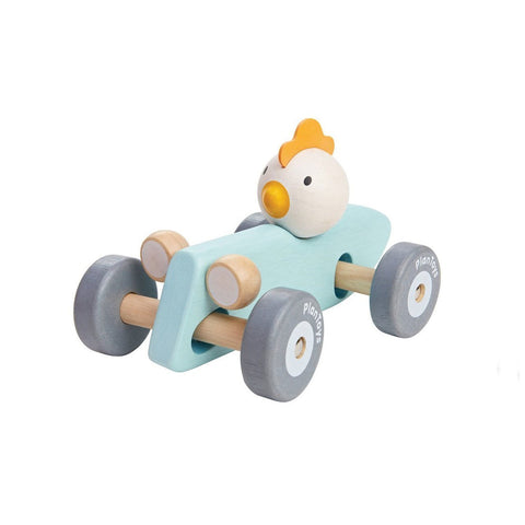 Plan Toys Wooden Racing Car in Pastel Blue with Chicken Driving