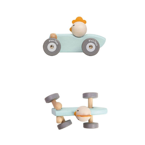Plan Toys Wooden Racing Car in Pastel Blue with Chicken Driving, showing side and top angle