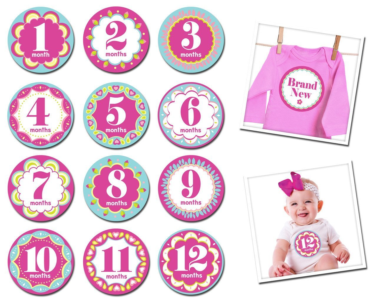 Sticky Bellies Milestone Stickers - Kaleidoscope Cutie - Naked Baby Eco Boutique