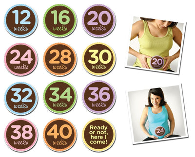 Sticky Bellies Milestone Stickers - Oh Sew Ready Maternity: 12-40 Weeks - Naked Baby Eco Boutique