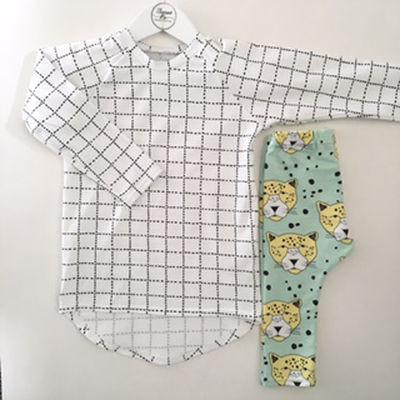 6-12 Months Thomas Pie Grid Raglan Tee - Naked Baby Eco Boutique