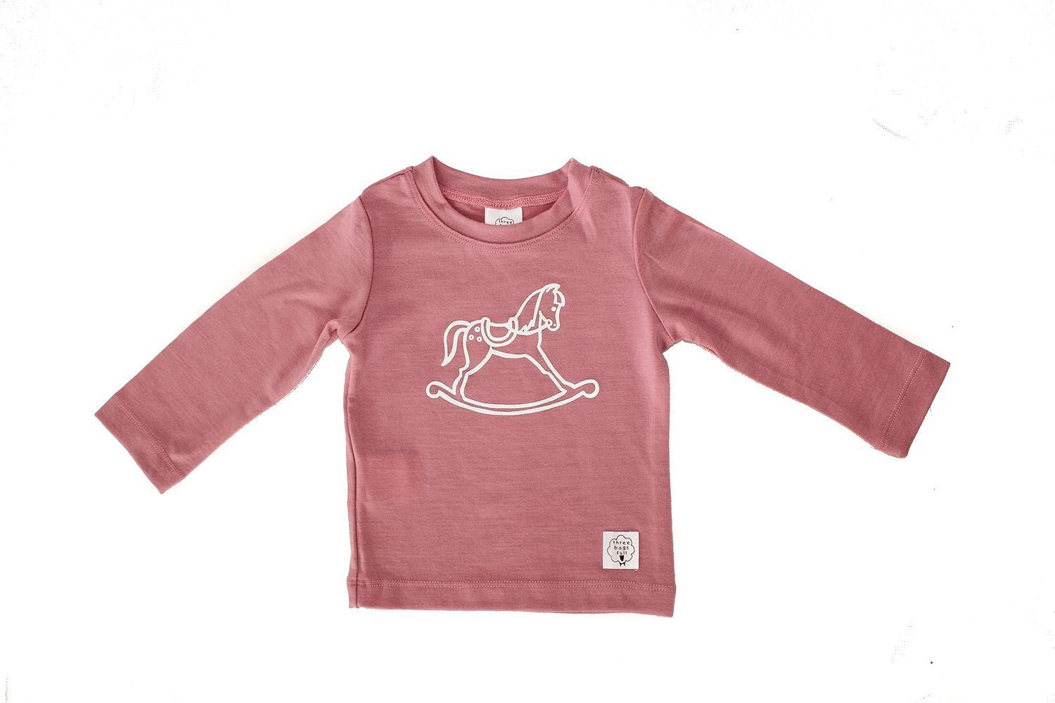 0-3 Months / Rose Three Bags Full Baby Rocking Horse Shirt - Naked Baby Eco Boutique
