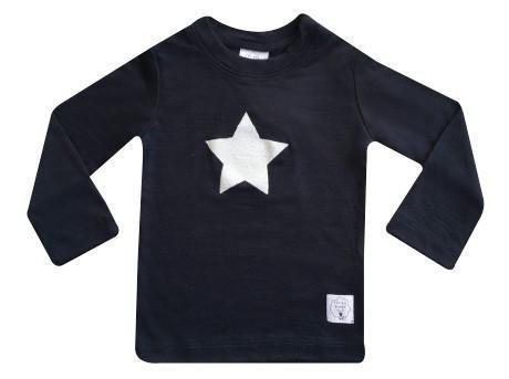 0-3 Months / Navy Three Bags Full Baby Star Shirt - Naked Baby Eco Boutique