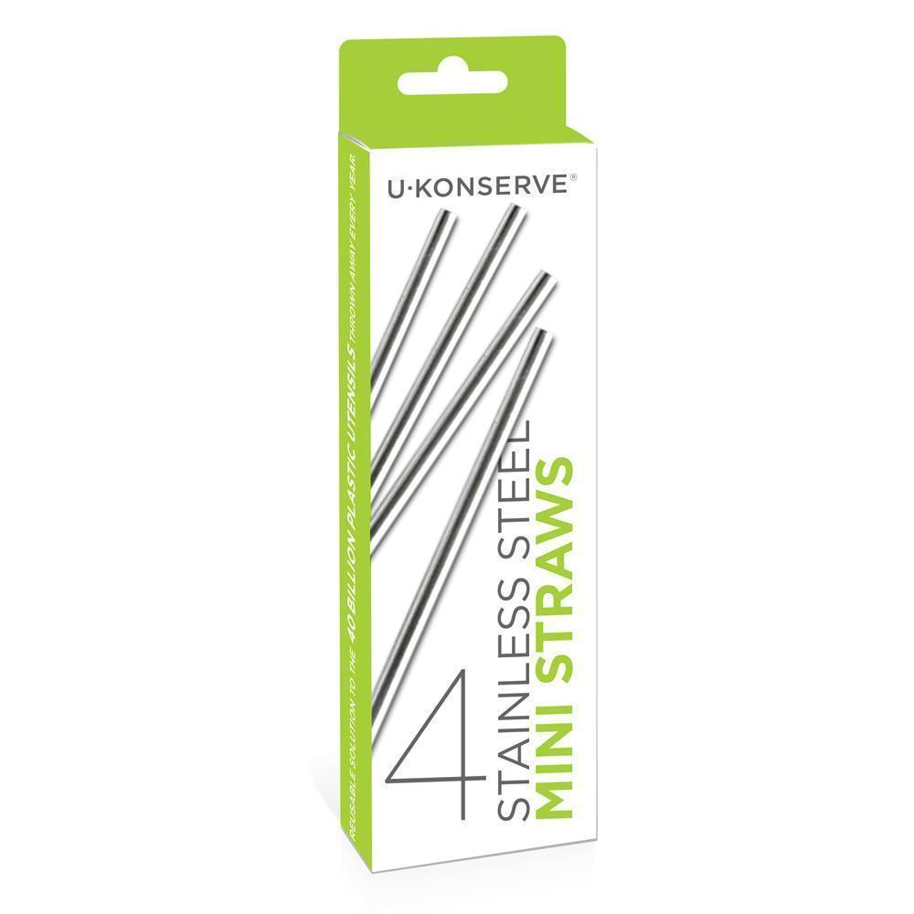 U Konserve Reusable Mini Stainless Steel Straws come in a set of 4