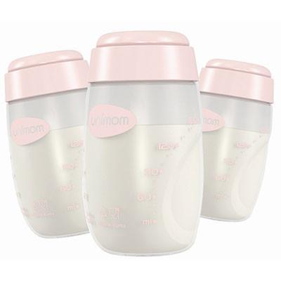Pink Unimom Breast Milk Storage Bottles - Naked Baby Eco Boutique