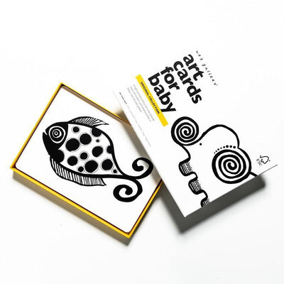 Black & White Animal Wee Gallery Art Cards for Baby - Naked Baby Eco Boutique
