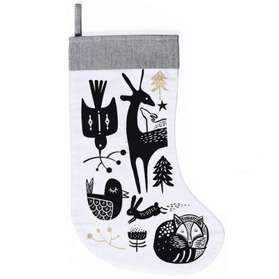 Black Winter Animals on White Wee Gallery Organic Cotton Christmas Stockings (Multiple Variants) - Naked Baby Eco Boutique