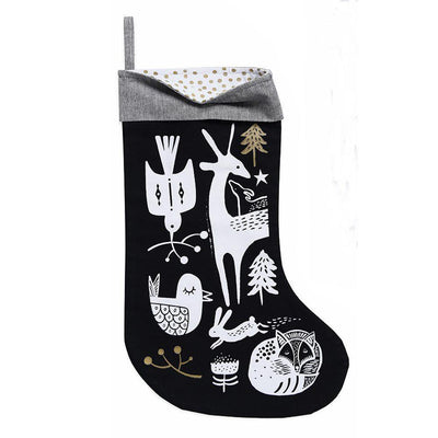 White Winter Animals on Black Wee Gallery Organic Cotton Christmas Stockings (Multiple Variants) - Naked Baby Eco Boutique