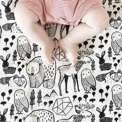 Bunnies Wee Gallery Organic Cotton Muslin Swaddle Blankets - Naked Baby Eco Boutique