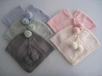 Chocolate / 0 - 6 Months / PomPom Weebits Knitted Poncho - Naked Baby Eco Boutique