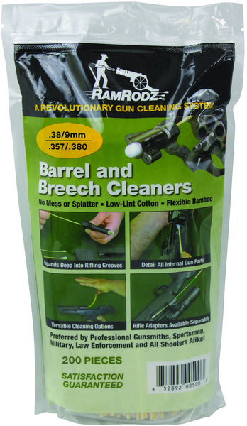 RamRodz .38/9mm Caliber Gun Cleaning Swabs (200 Quantity) Free Shipping
