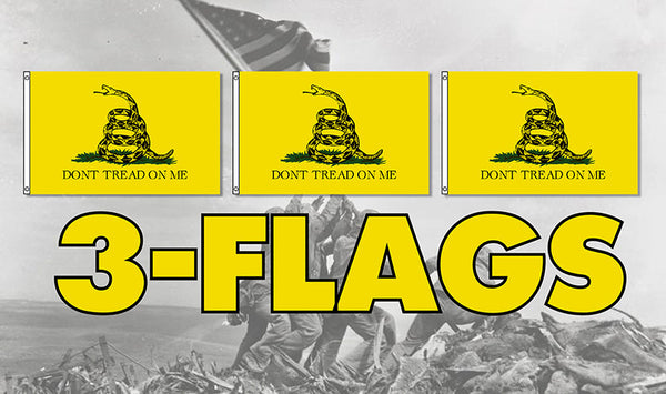 Don't Tread on Me 3x5' Flag 3 Pack Free Shipping