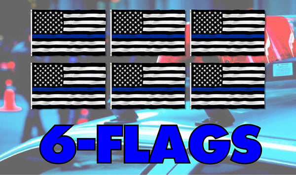 Blue Line American Flag 3 x 5 Foot 6 Pack Free Shipping