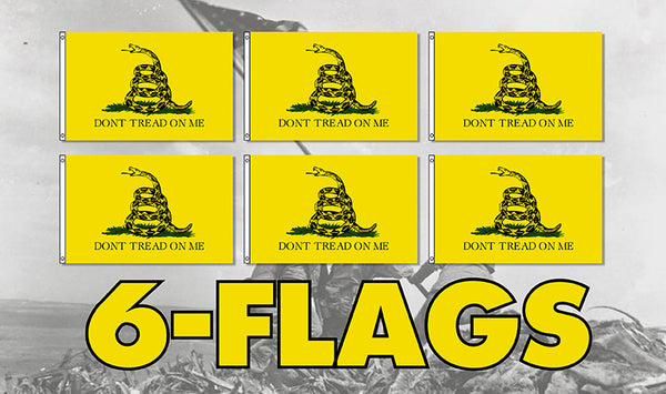 Don't Tread On Me 3' x 5' Flag 6 Pack Free Shipping