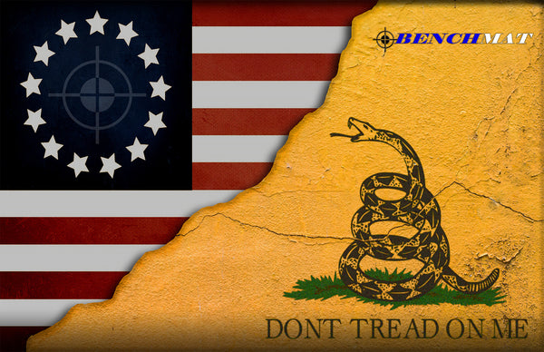 Don't Tread On Me Colonial American Flag Gun Cleaning Mat by Bench Mat