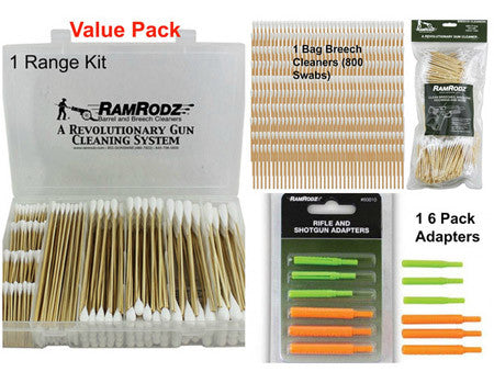 RamRodz Value Pack - Range Kit, Breech Cleaners & Rifle / Shotgun Adapters - Free Shipping