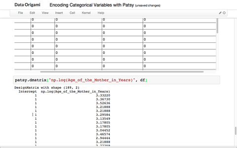 Using Patsy for Categorical Data