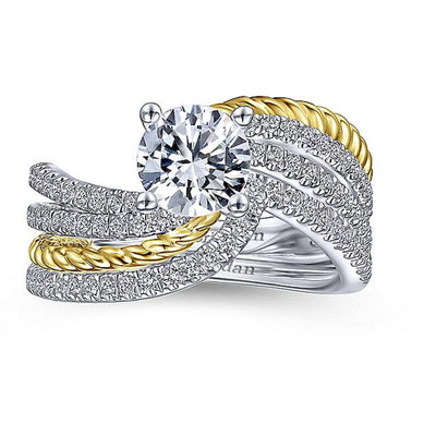 14K YELLOW - WHITE GOLD DIAMOND ENGAGEMENT TWISTED  RING