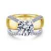 14K YELLOW - WHITE GOLD DIAMOND ENGAGEMENT RING