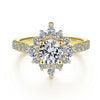 YELLOW GOLD HALO DIAMOND ENGAGEMENT RING SETTING 14K BY SolAdan