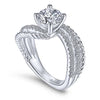 14K  WHITE GOLD DIAMOND ENGAGEMENT TWISTED  RING