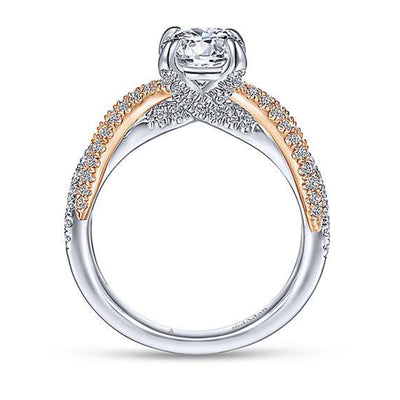 14K ROSE - WHITE GOLD DIAMOND ENGAGEMENT RING