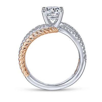 14K ROSE- WHITE GOLD DIAMOND ENGAGEMENT TWISTED  RING
