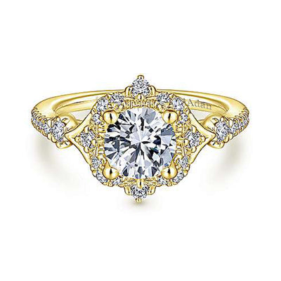 VINTAGE 14K YELLOW GOLD HALO DIAMOND ENGAGEMENT RING