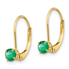 EMERALD-MAY 4MM 0.50CT ROUND BIRTHSTONE EARRINGS 14K YELLOW GOLD