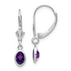 New Annie 14k White Gold 6x4mm Oval Amethyst/February Earrings