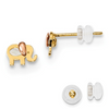 KIDS COLLECTION 14K YELLOW GOLD TWO-TONE MOP ELEPHANT POST EARRINGS PUSH BACK