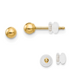 14K YELLOW GOLD POLISHED 3MM BALL POST EARRINGS PUSH BACK