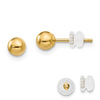 14K YELLOW GOLD POLISHED 4MM BALL POST EARRINGS PUSH BACK