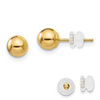 14K YELLOW GOLD POLISHED 5MM BALL POST EARRINGS PUSH BACK