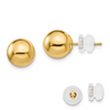 14K YELLOW GOLD POLISHED 8MM BALL POST EARRINGS PUSH BACK