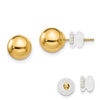14K YELLOW GOLD POLISHED 7MM BALL POST EARRINGS PUSH BACK