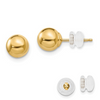 14K YELLOW GOLD POLISHED 6MM BALL POST EARRINGS PUSH BACK