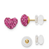 14K YELLOW GOLD PINK CRYSTAL HEART POST EARRINGS PUSH BACK
