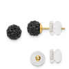 14K YELLOW GOLD 6MM BLACK CRYSTAL POST EARRINGS PUSH BACK