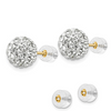 14K YELLOW GOLD 8MM CLEAR CRYSTAL POST EARRINGS PUSH BACK