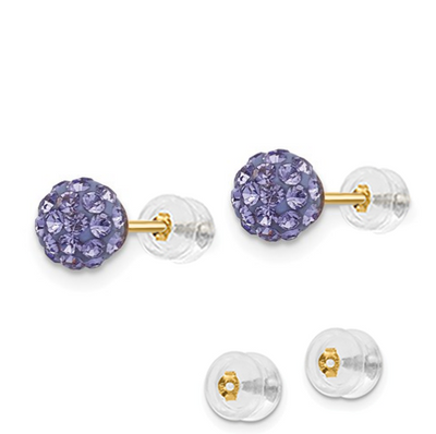 14K YELLOW GOLD 5MM PURPLE CRYSTAL POST EARRINGS PUSH BACK