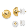 14K YELLOW GOLD POLISHED AND DIAMOND CUT 10MM BUTTON POST EARRINGS