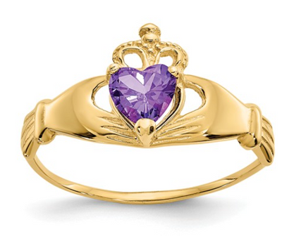 14K YELLOW GOLD SWAROVSKI CRYSTAL FEBRUARY BIRTHSTONE CLADDAGH HEART RING