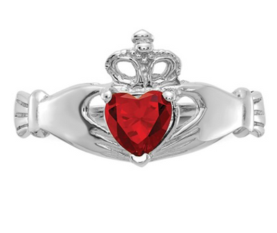 14K WHITE GOLD SWAROVSKI CRYSTAL JANUARY BIRTHSTONE CLADDAGH HEART RING
